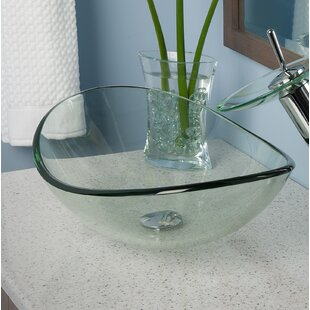 Best Reviews Clear Glass Oval Vessel Bathroom Sink By Topia