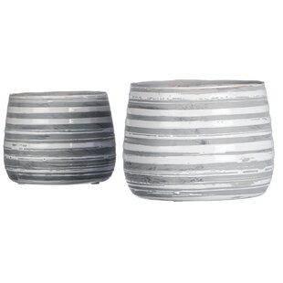 Bessemer Striped 2-Piece Ceramic Pot Planter Set (Set Of 2) By Brayden Studio