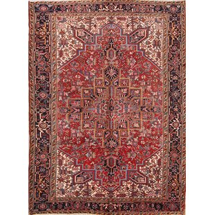 Price comparison One-of-a-Kind Lapp Geometric Heriz Vintage Persian Hand-Knotted 7'9 x 10'7 Wool Red/Black/Beige Area Rug By Isabelline
