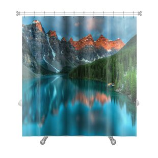 Compare prices Landscapes During the Morning Sunrise at Moraine Lake, Banff National Park Premium Shower Curtain ByGear New
