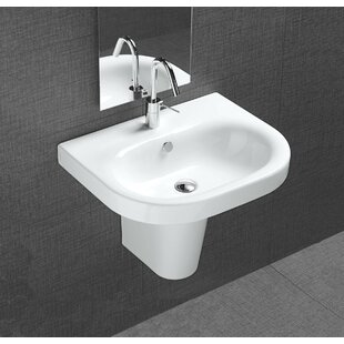 Compare prices Pro Vitreous China 22 Wall Mount Bathroom Sink with Overflow By Bissonnet