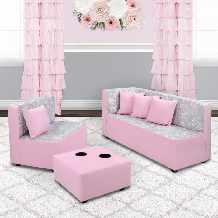 Cool Corsair 7 Piece Kids Sofa Set With Ottoman And Cup Holder Onthecornerstone Fun Painted Chair Ideas Images Onthecornerstoneorg