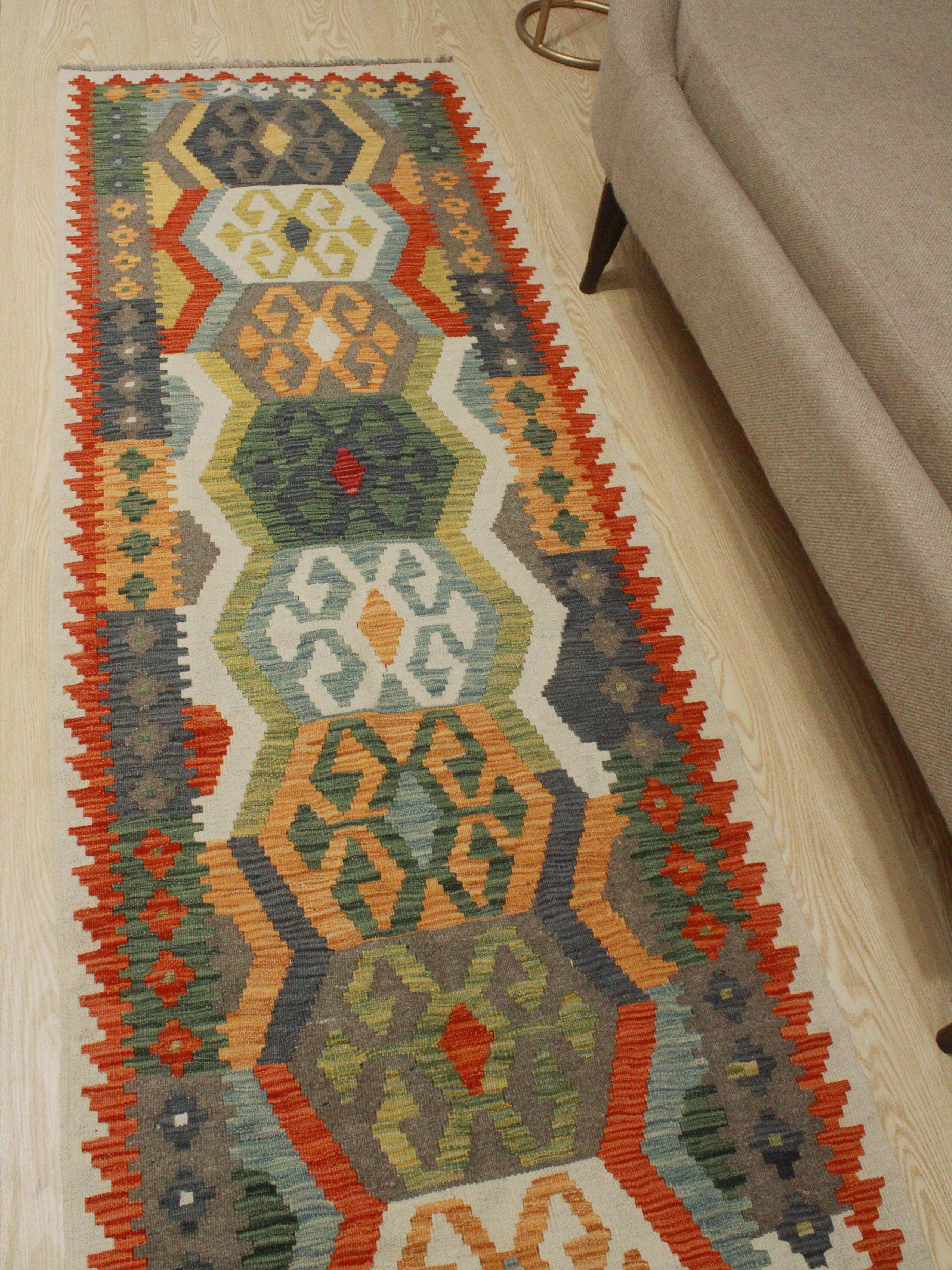 Foundry Select Runner Hults Southwestern Hand Woven Wool Green Orange Blue Area Rug Wayfair