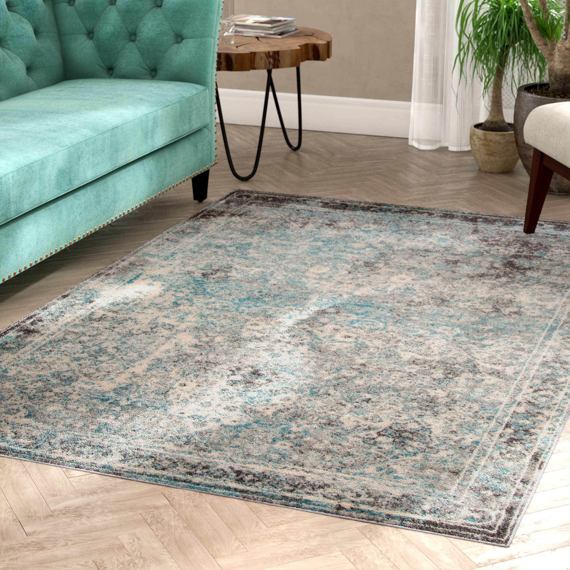 Mistana Danny Turquoise Dark Gray Ivory Area Rug Reviews