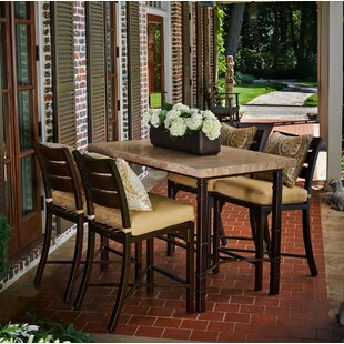 Bungalow Counter Height 5 Piece Sunbrella Dining Set with Cushions by Peak Season Inc.