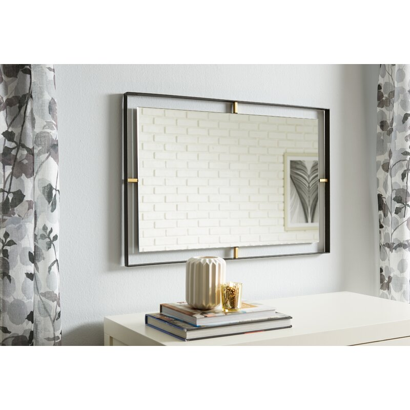 Mirrors On A Blue Accent Wall: Industrial Rectangle Accent Wall Mirror & Reviews