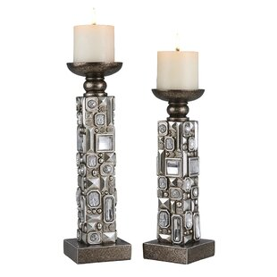 Vidrine 2 Piece Resin Candlestick Set