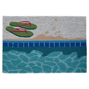 Marshtown Poolside Water Hand-Hooked Blue Indoor/Outdoor Area Rug