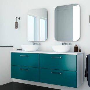 Wrought Studio Torin Bowl Wall-Mounted Double Bathroom Vanity Set with Mirror