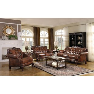 Duane 3 Piece Genuine Leather Living Room Set by Fleur De Lis Living