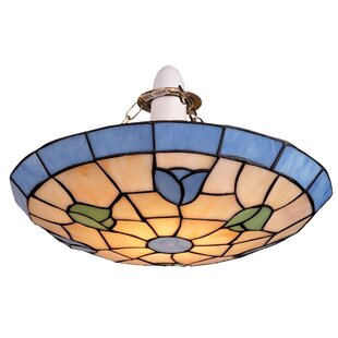 Multi coloured ceiling lights wayfair tiffany 1 light semi flush ceiling light aloadofball Image collections