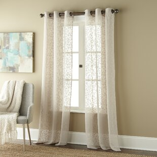 Louth Willow Floral Semi-Sheer Grommet Curtain Panels (Set of 2) by Alcott Hill