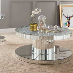 Shay Modern Round Mirror Coffee Table by Everly Quinn