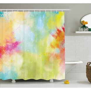 Cloudy Milk Way Like Blur Smokey Color Explosion Dust Powder Art Boho Print Shower Curtain Set