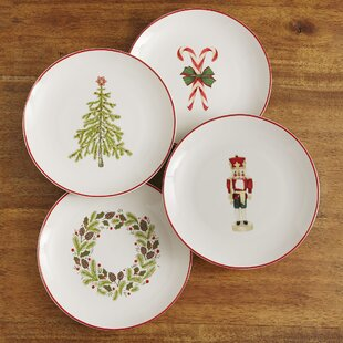 Christmas Plates (Set of 4) & Christmas Plate Set | Wayfair