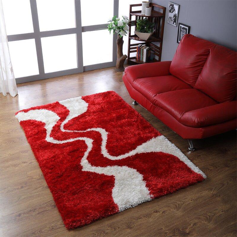 Orren Ellis Lisse Abstract Handmade Tufted Red Area Rug Reviews Wayfair