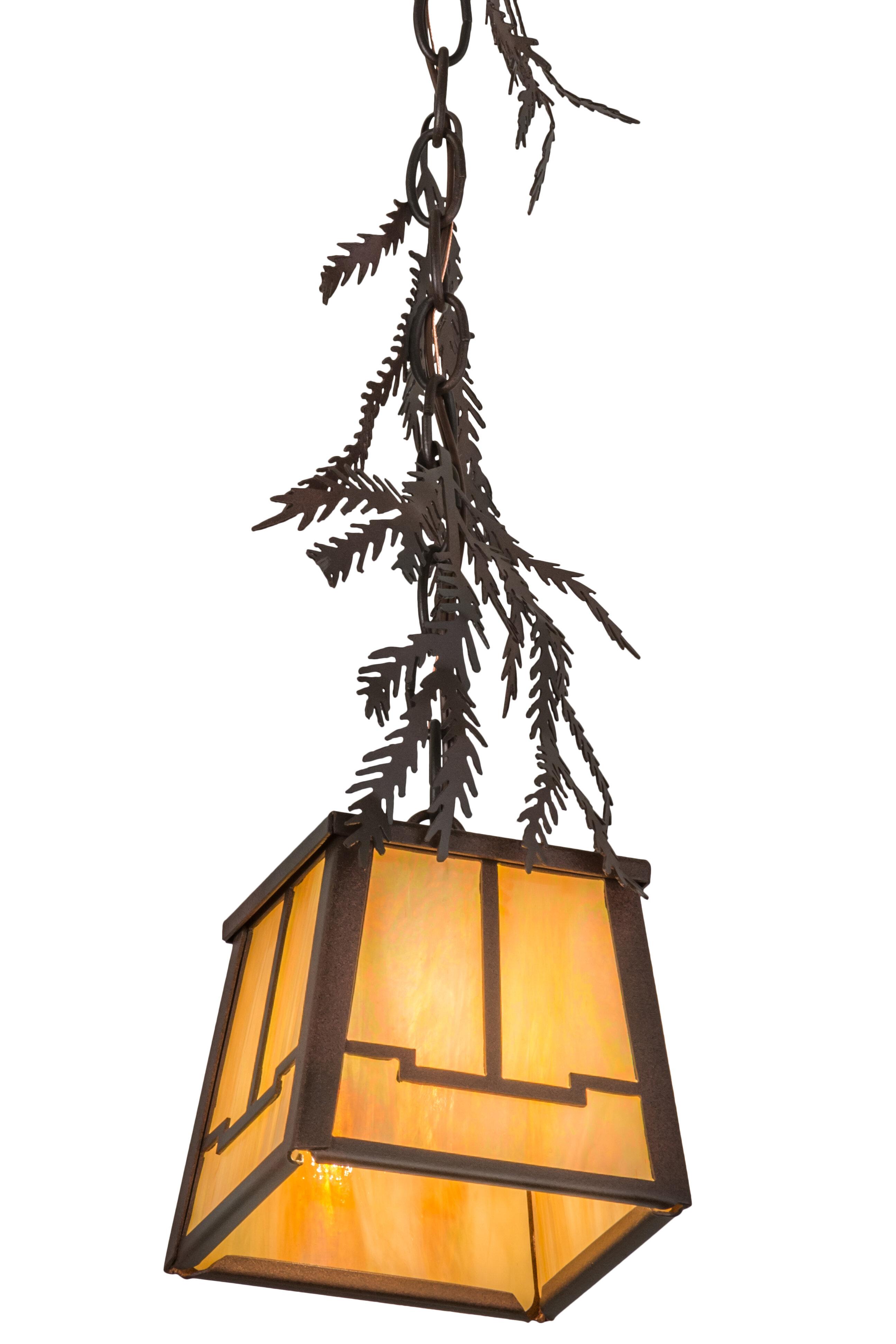 Meyda Tiffany Pine Branch Valley View 1 Light Lantern Geometric Pendant Wayfair