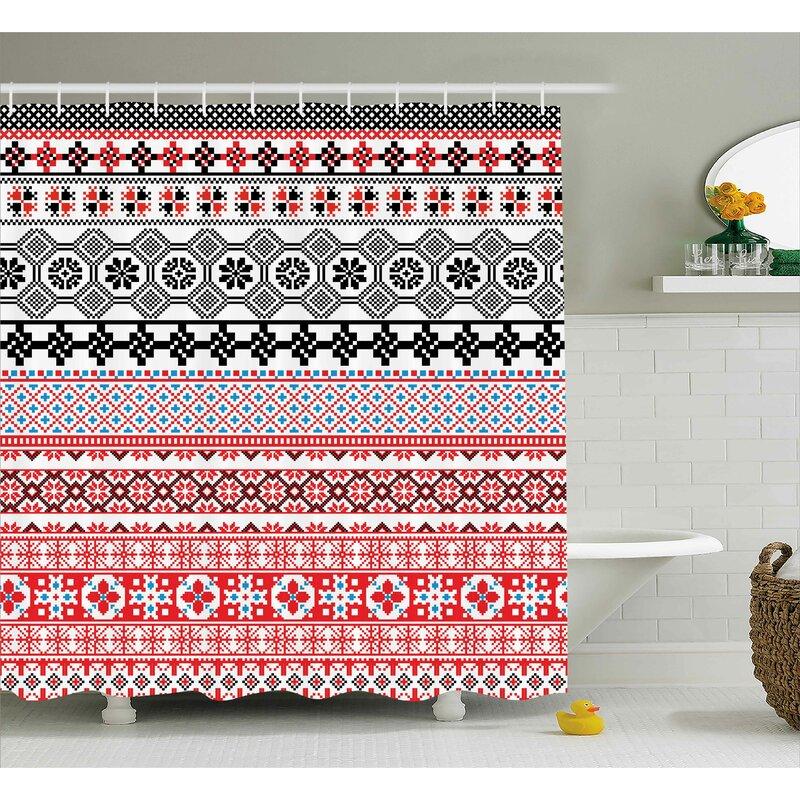 Aviana Ethnic Aztec Pattern Shower Curtain