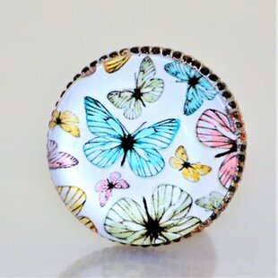Retro Butterflies Mushroom Knob (Set of 4)