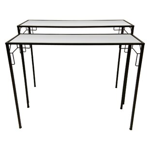 Griffithville Metal Mirrored 2 Piece Nesting Tables
