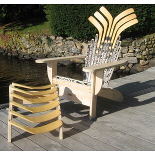 Ski Chair Hockey Stick Solid Wood Adirondack Chair with Ottoman