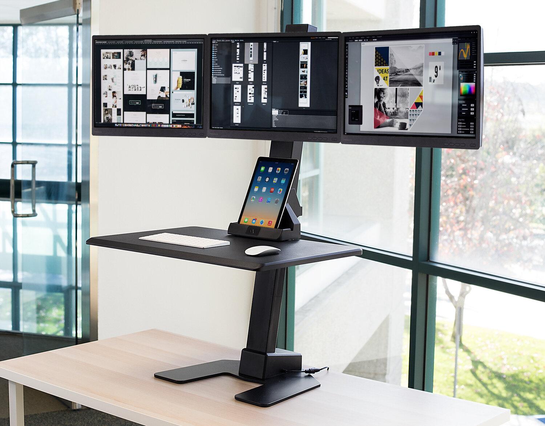 Symple Stuff Herrera Triple Monitor Electric Height Adjustable Standing Desk Converter Wayfair Ca