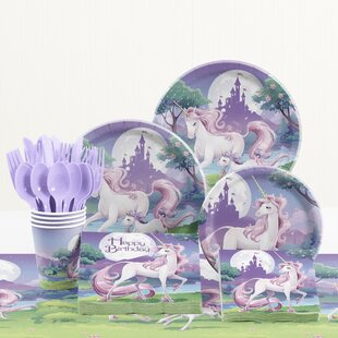 81 Piece Unicorn Fantasy Birthday Paper/Plastic Tableware Set