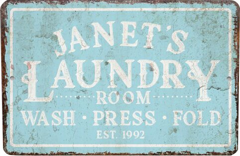 Distressed Laundry Sign 4 Wooden Shoes Personalized Mint Distressed Vintagelook Laundry