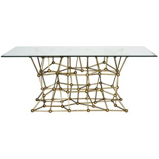 Worlds Away Iron Dining Table with Glass ..