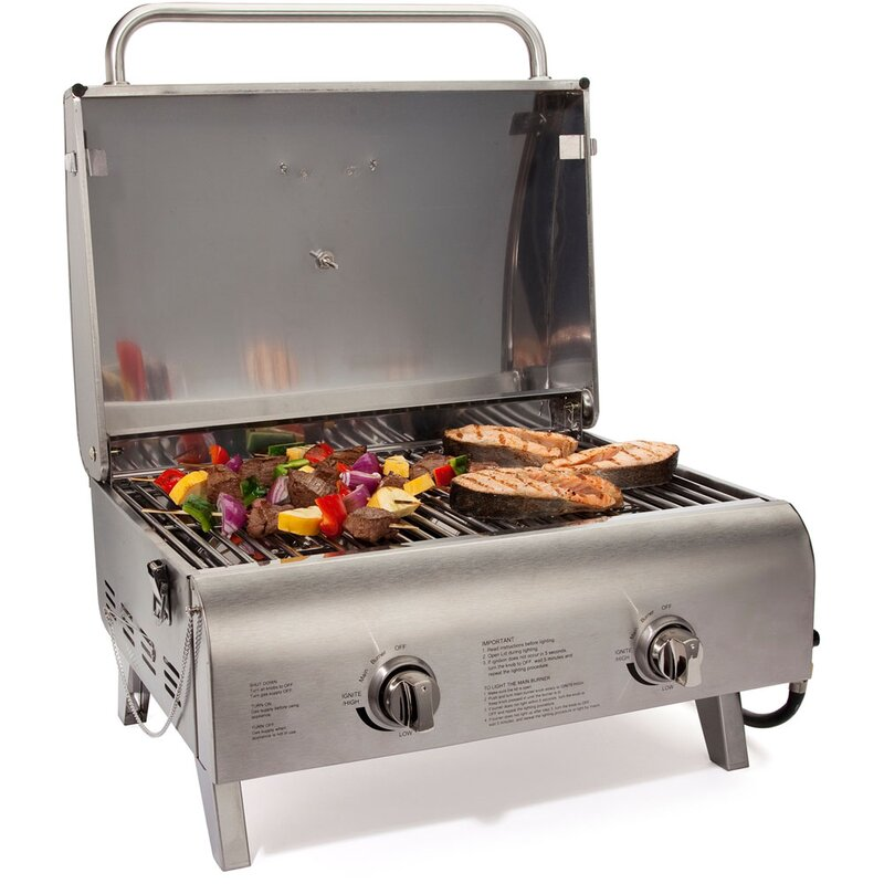 BBQ Gas Grill Cuisinart Portable Outdoor Tabletop PetitGourmet CGG180 Silver New