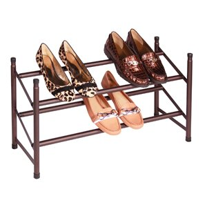 Stacking Telescoping 2-Tier 10 Pair Shoe Rack By Richards Homewares