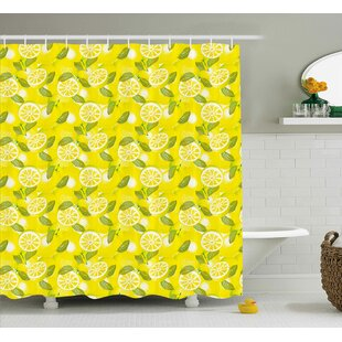 Tonie Spring Fresh Lemon Slices With Leaves Background Soft Fruit Summer Tasteful Design Single Shower Curtain