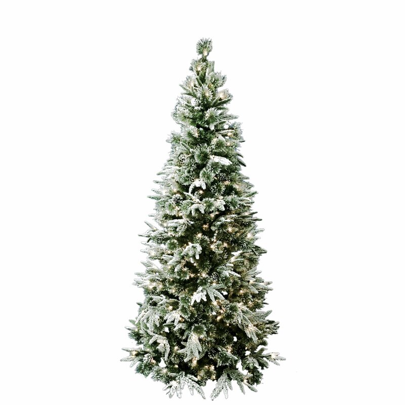 7 Pre Lit Flocked Artificial Christmas Tree With 300 Clear Lights Pinecones