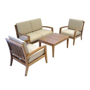 Ohana 4 Piece Teak Sofa Set with Cushions by Ohana Depot