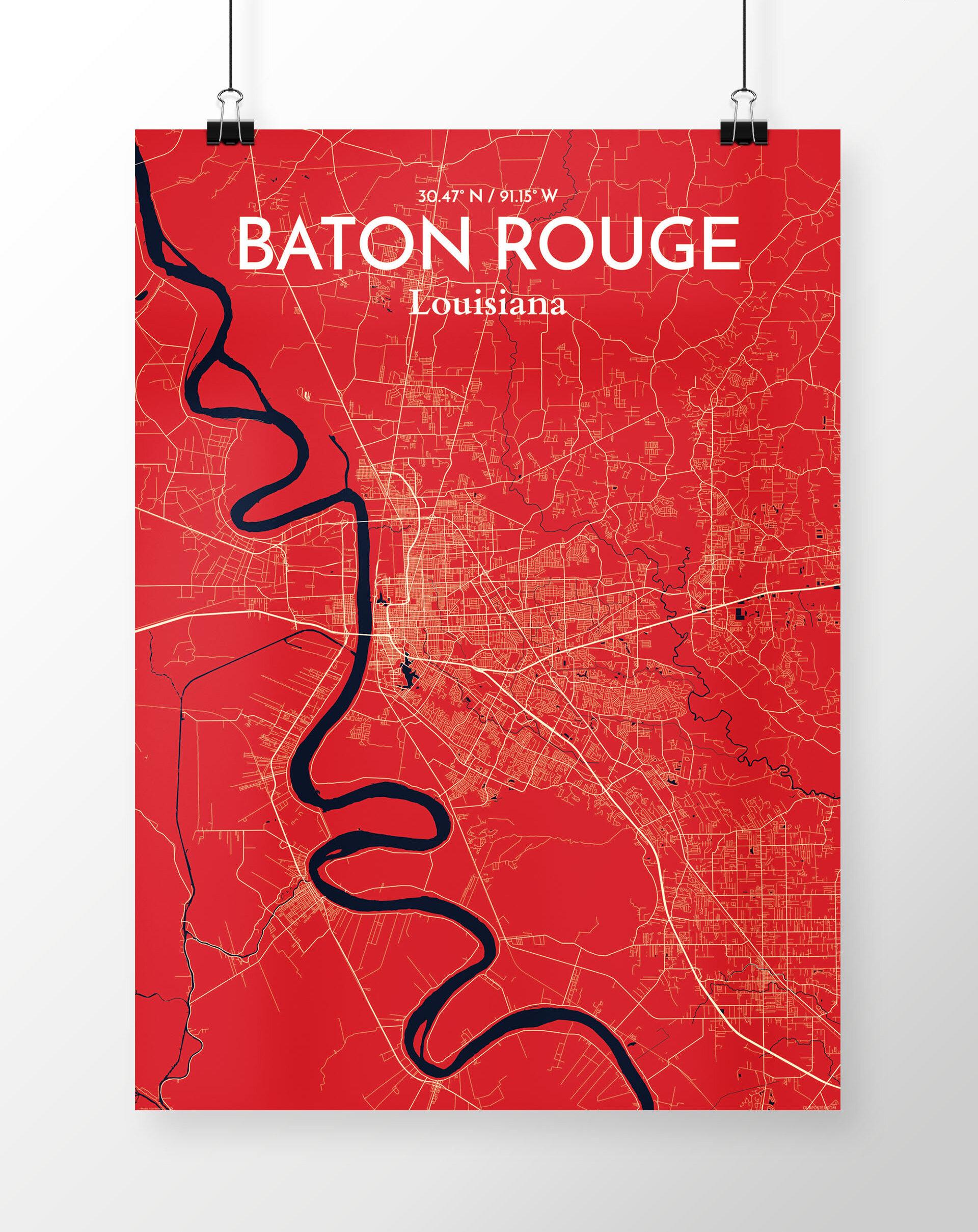 Wrought Studio Baton Rouge City Map Graphic Art Print