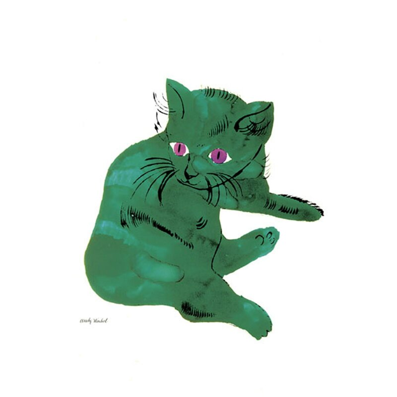 'Green Cat, 1956' by Andy Warhol Painting Print - Cat Wall decor