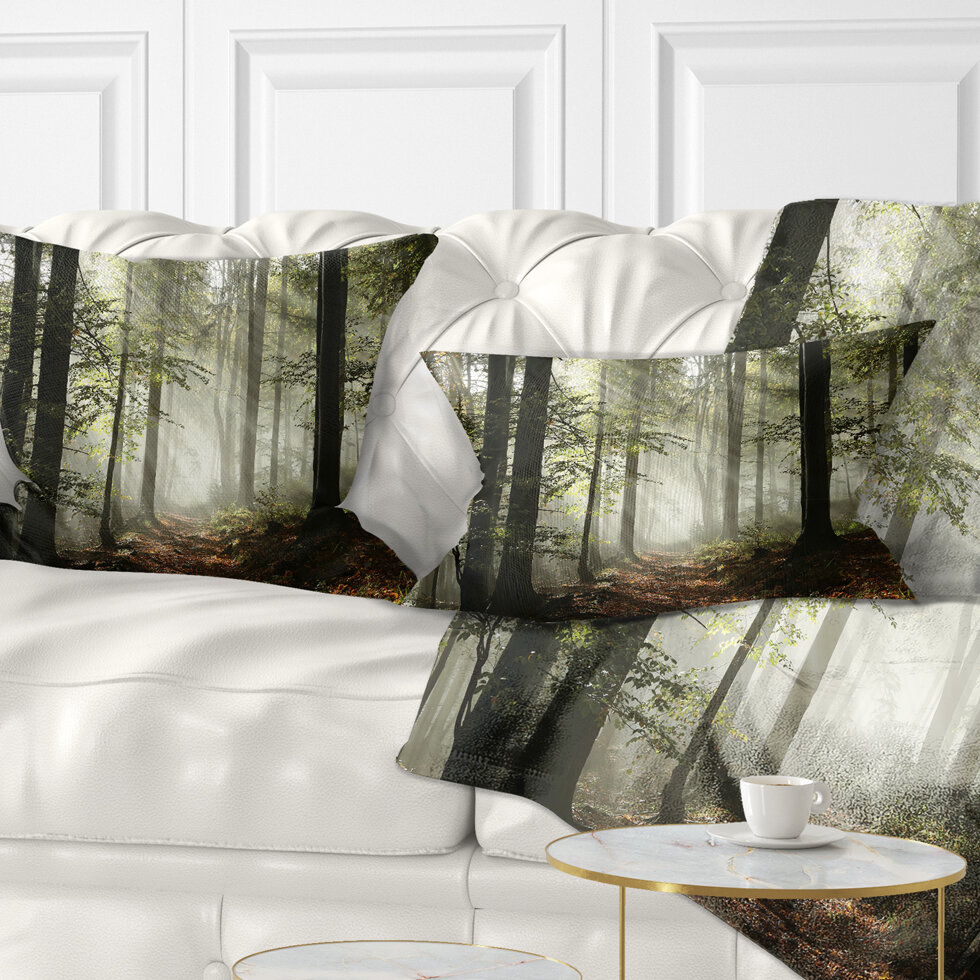 East Urban Home Light In Dense Fall Forest With Fog Landscape Printed Lumbar Pillow Wayfair