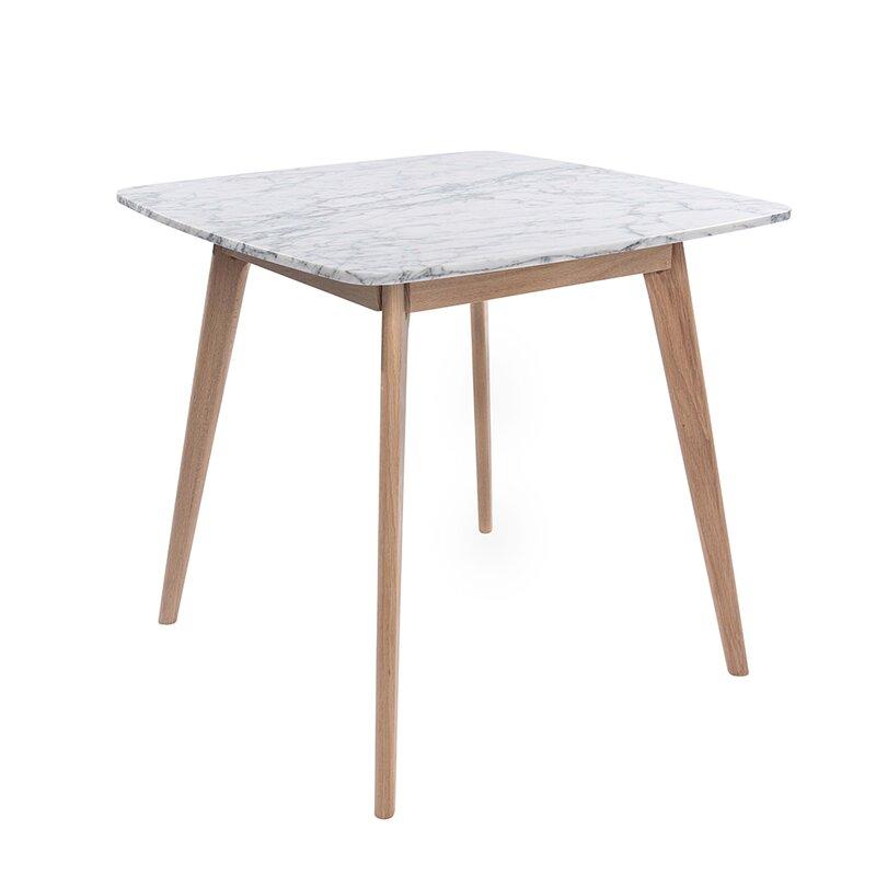 Ivy Bronx Huldah 39 Square Italian Carrara White Marble Dining Table Wayfair