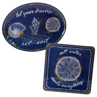 Calm Seas 2 Piece Heavy Weight Melamine Platter Set