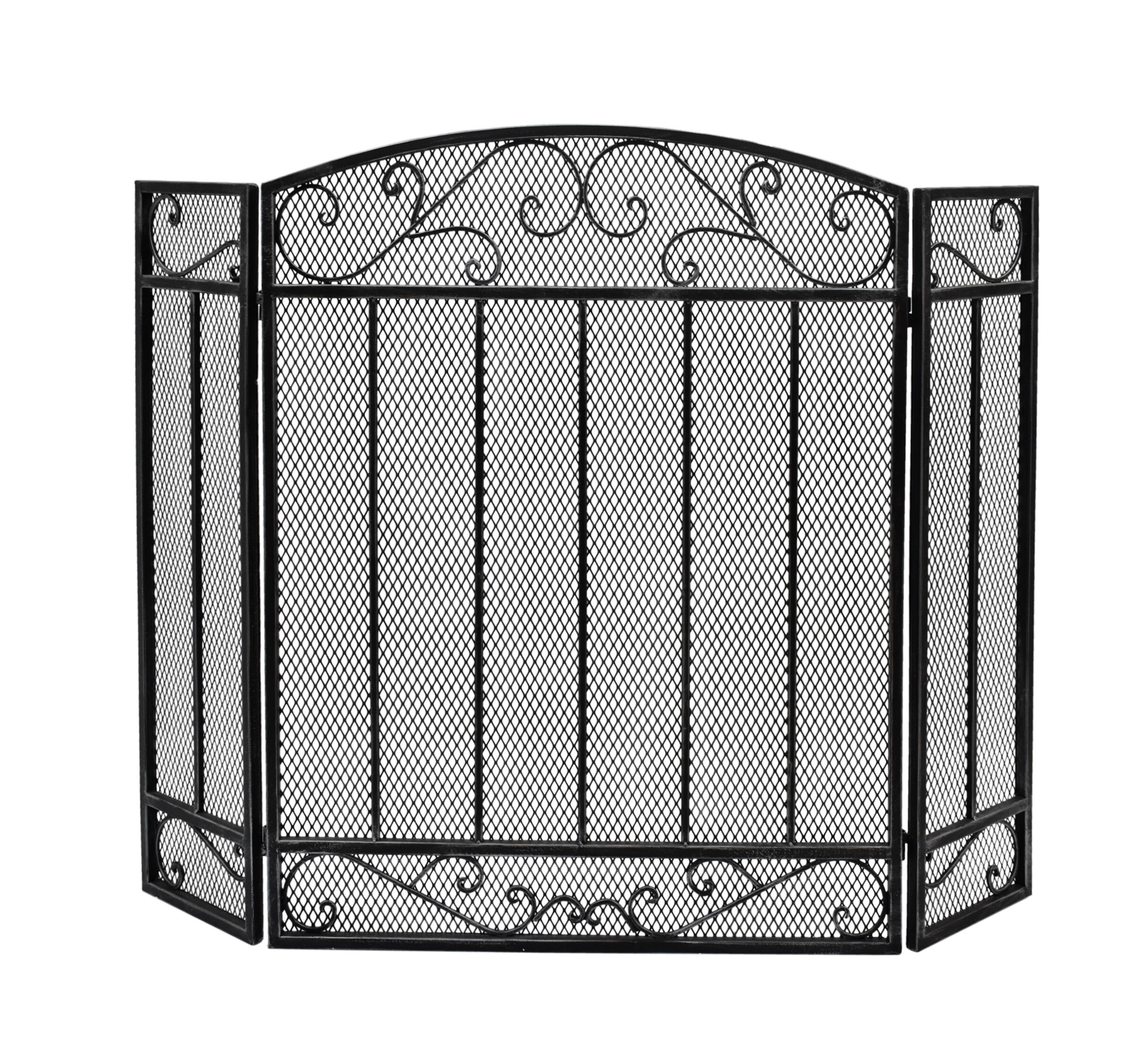 Ornate Black 3 Folding Panel Fire Guard Spark Protection Safety Screen