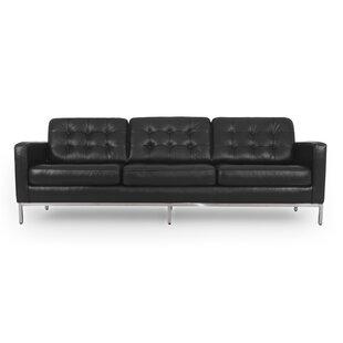 Corrigan Studio Agostini Mid-Century Leather Sofa