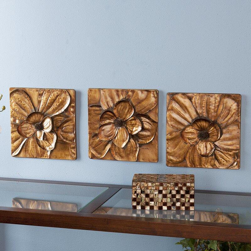Three Posts 3 Piece Magnolia Brown Panel Wall Décor Set & Reviews ...