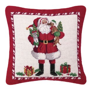Hook Christmas Puppies Needlepoint Wool Throw Pillow