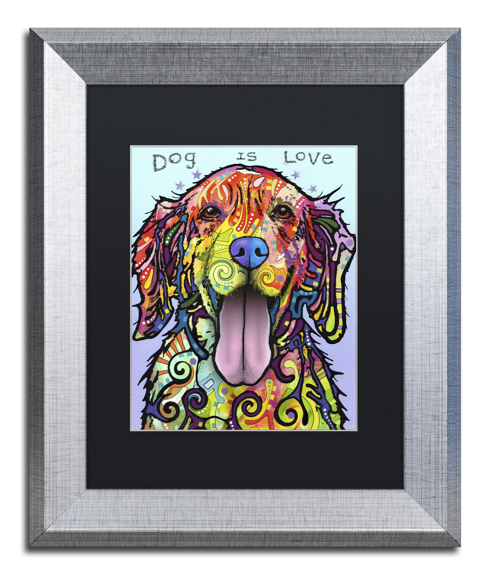 Trademark art 39dog is love39 by dean russo framed painting for Best brand of paint for kitchen cabinets with iron man wall art