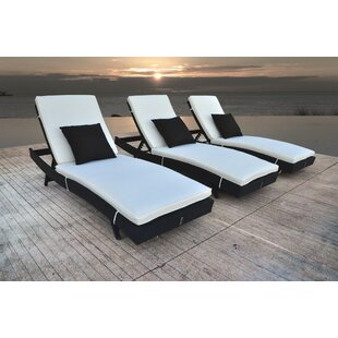 Solis Patio Zori Chaise Lounge with Cushion (Set of 3)