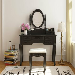 August Grove Saxton 7 Drawer Wood Vanity Set with Mirror