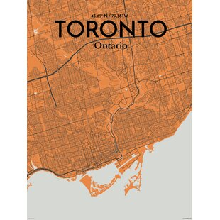 Toronto map art wayfair toronto city map graphic art print poster in orange gumiabroncs Choice Image