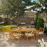 Dowell Outdoor Patio 7 Piece Teak Dining Set with Cushions