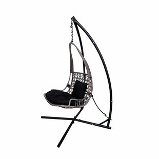 Newlon Wicker Rattan Hanging Swing Chair With Stand by Bloomsbury Market