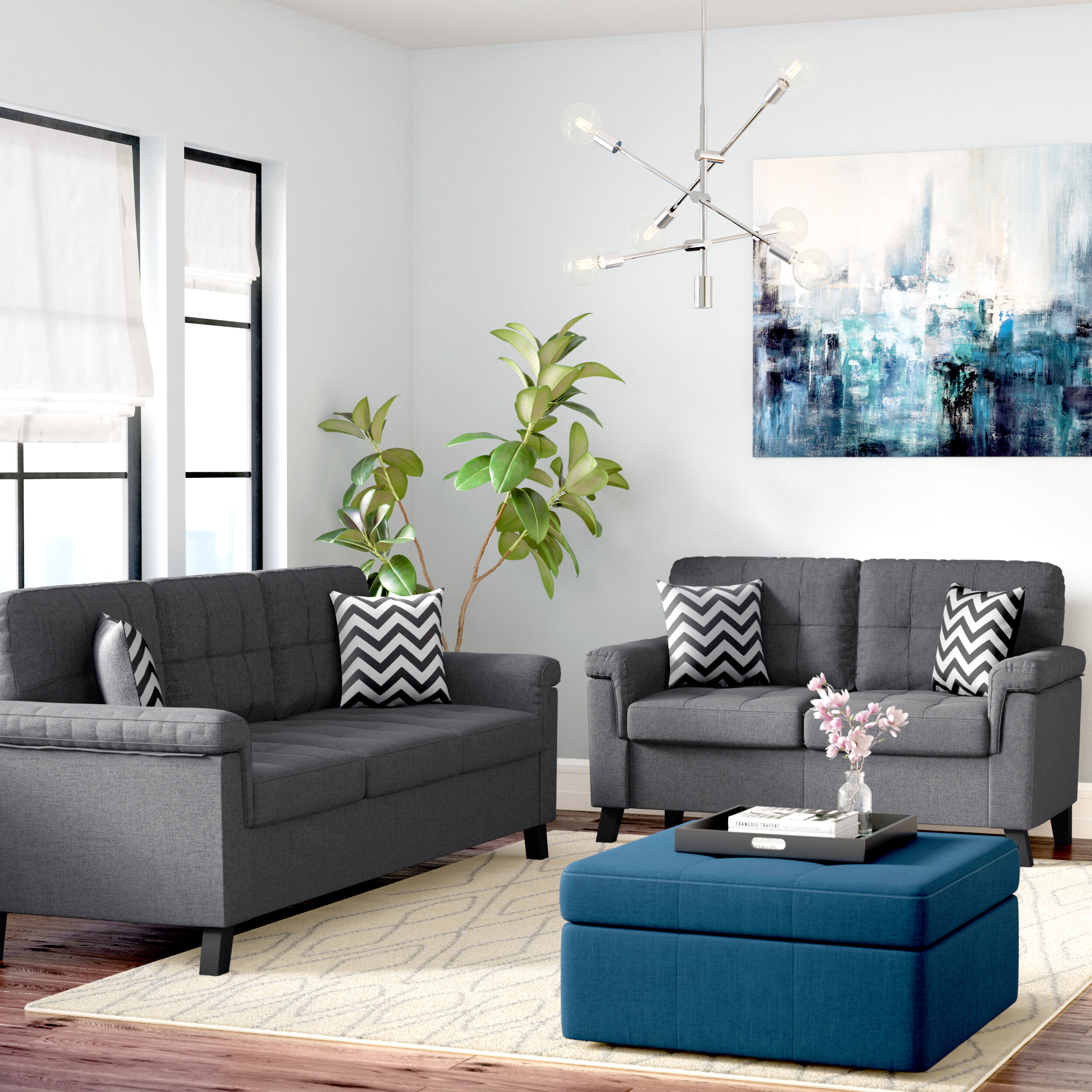 tufted sets loveseat and p tanya sofa living livings piece set modern room grey